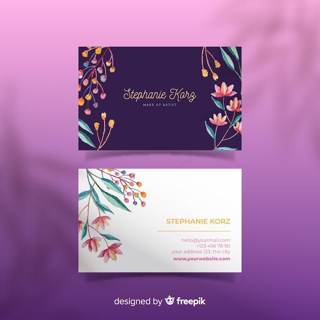 Floral ontwerpsjabloon voor visitekaartje Gratis Vector