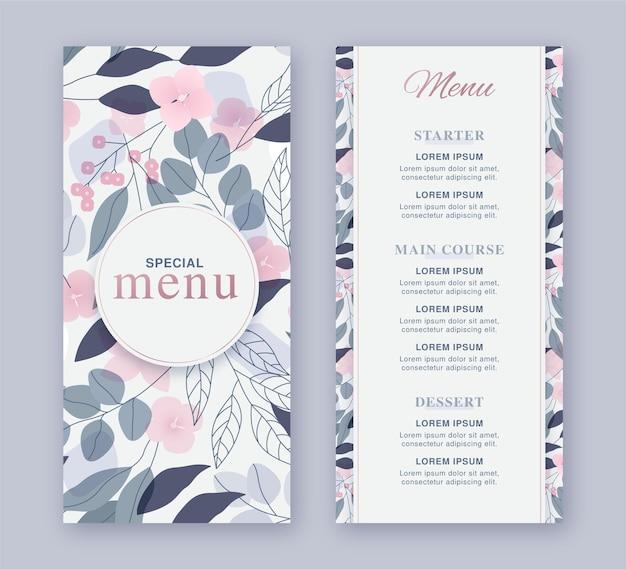 Floral restaurant menusjabloon Premium Vector