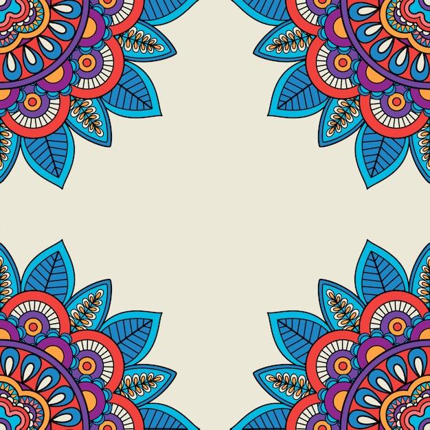 Floral rozetten doodle hand getrokken frame Premium Vector
