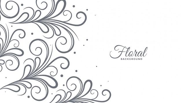Floral stijl achtergrond met copyspace Gratis Vector