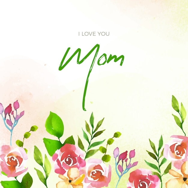 Floral stijl moederdag belettering Gratis Vector