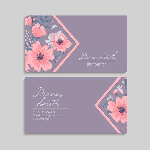 Floral stijl visitekaartje sjabloon vector Gratis Vector