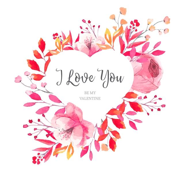 Floral valentine's heart frame met aquarel bladeren Gratis Vector