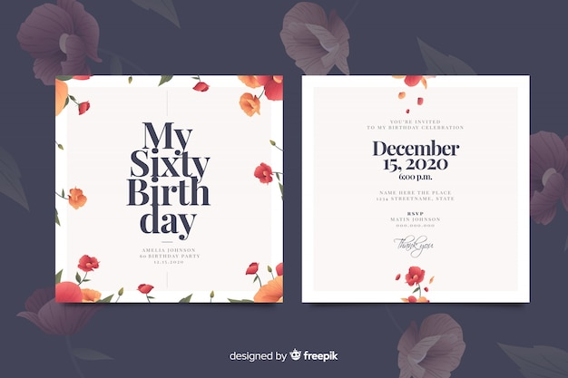 Floral verjaardag uitnodiging sjabloon Gratis Vector