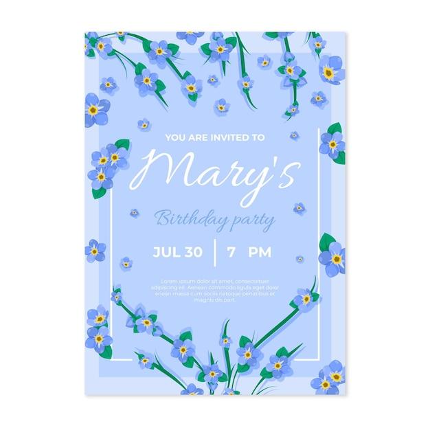 Floral verjaardagsuitnodiging Gratis Vector