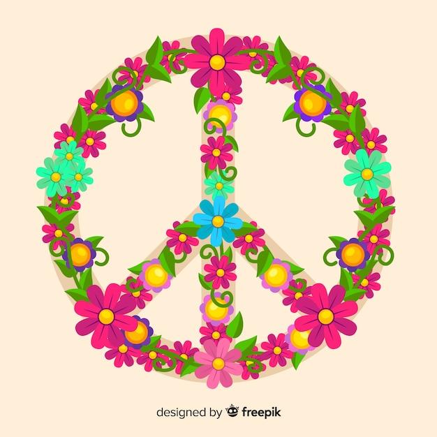 Floral vredesteken Gratis Vector