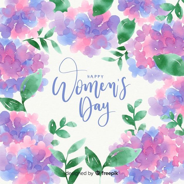 Floral vrouwendag achtergrond Gratis Vector