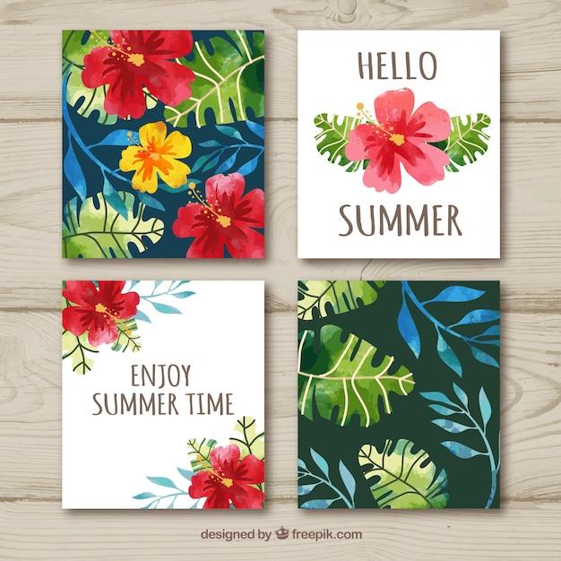 Floral zomer kaart collectie Gratis Vector