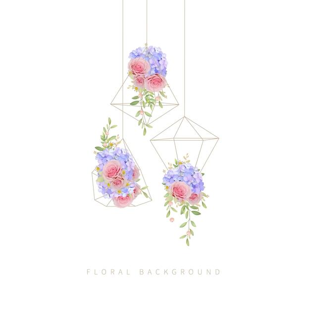 Florale achtergrond met roze rozen en hortensia in terrarium Premium Vector