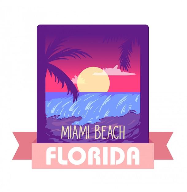 Florida miami zomer vector illustratie concept Premium Vector