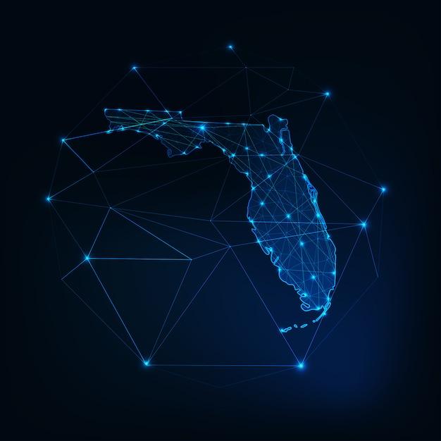 Florida staat usa kaart gloeiende silhouet gemaakt van sterren lijnen stippen driehoeken, lage veelhoekige vormen. Premium Vector