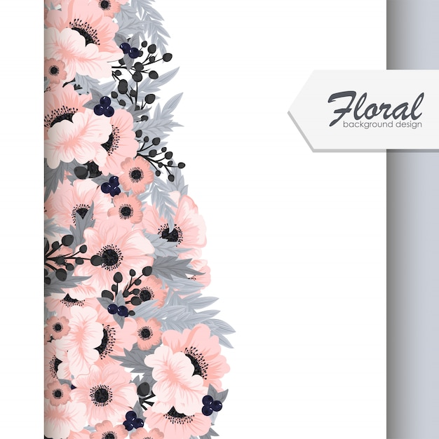 Flower borders vector roze bloemen Gratis Vector