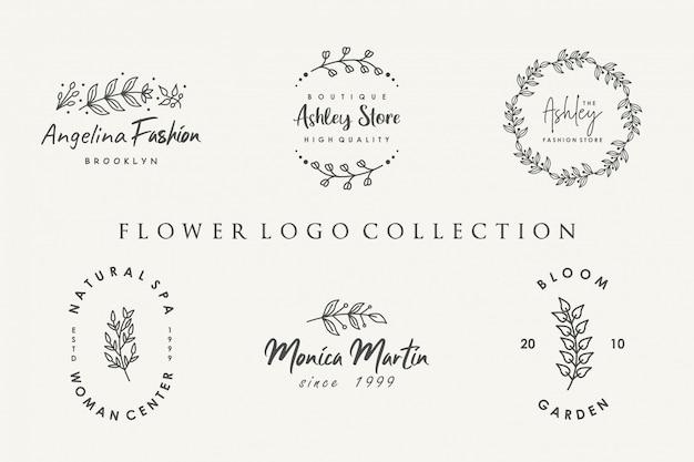 Flower logo collectie met minimalistische stijl Premium Vector