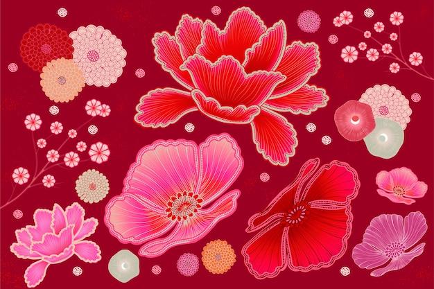 Fluorescerend roze en fuchsia bloemenontwerpelement Premium Vector