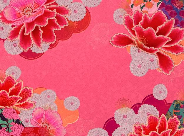 Fluorescerende roze bloemenachtergrond met exemplaarruimte Premium Vector
