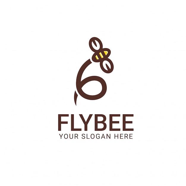 Fly bee logo sjabloon Premium Vector