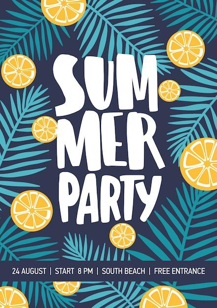 Flyer of poster sjabloon versierd met plakjes citrus en tropische bladeren voor de aankondiging van het zomerfeest. Premium Vector