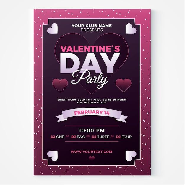 Flyer / poster sjabloon voor valentijnsdag feest Gratis Vector