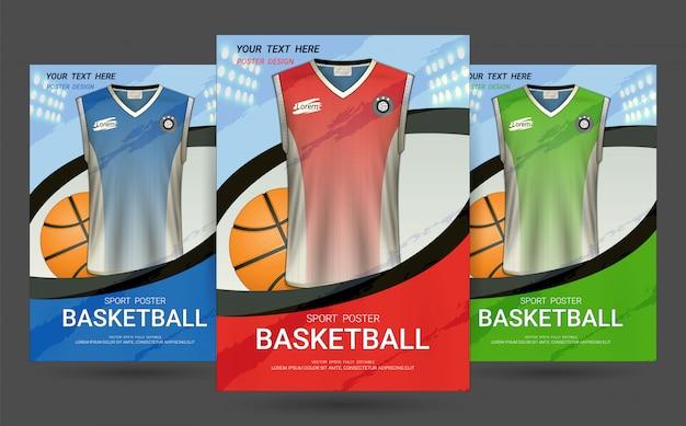 Flyer & poster voorbladsjabloon met basketbal jersey ontwerp. Premium Vector