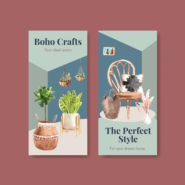 Flyer sjabloon met boho meubelen conceptontwerp voor brochure en folder aquarel illustratie Gratis Vector
