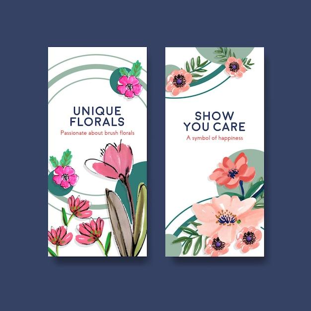 Flyer-sjabloon met borstel florals conceptontwerp voor brochure en folder aquarel Gratis Vector