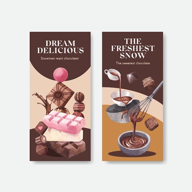Flyer sjabloon met chocolade winter conceptontwerp voor brochure en folder aquarel vectorillustratie Gratis Vector