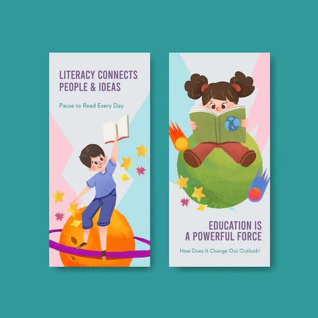 Flyer-sjabloon met conceptontwerp van de internationale dag van de alfabetisering voor brochure en folder aquarel. Gratis Vector