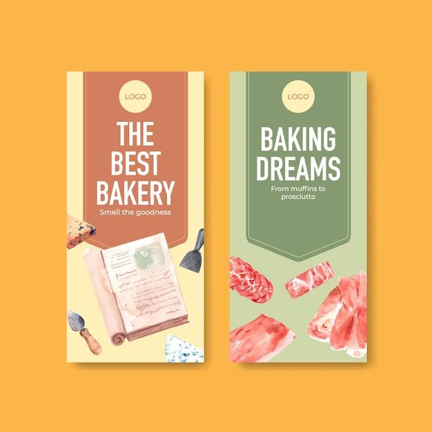 Flyer sjabloon met europese picknick conceptontwerp voor brochure en reclame aquarel illustratie. Gratis Vector