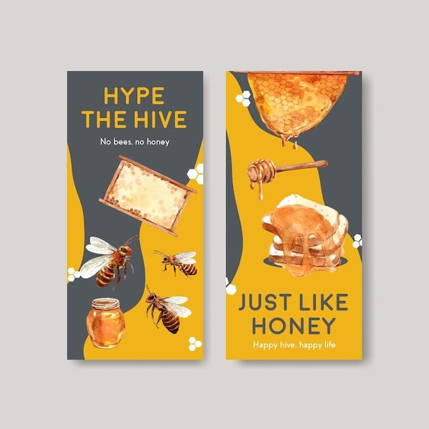 Flyer sjabloon met honing conceptontwerp voor brochure en folder aquarel vectorillustratie Gratis Vector