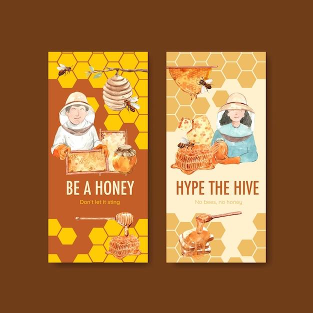 Flyer-sjabloon met honing voor brochure en folder aquarel Gratis Vector