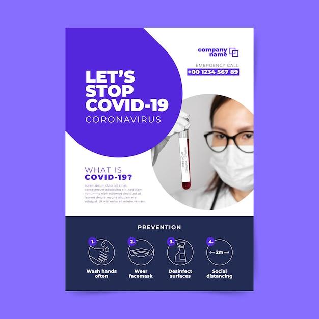 Flyer-sjabloon met informatie over het coronavirus Gratis Vector