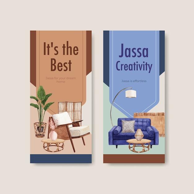 Flyer sjabloon met jassa meubelen conceptontwerp voor brochure en folder aquarel vectorillustratie Gratis Vector
