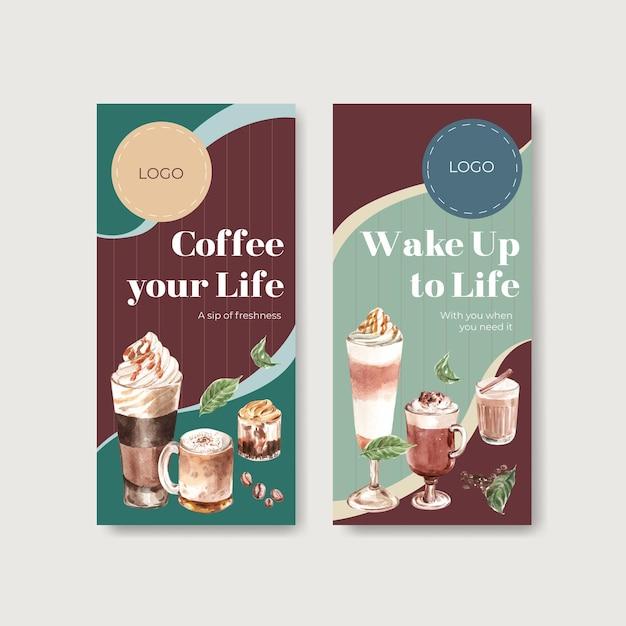 Flyer-sjabloon met koreaanse koffie stijl concept voor brochure en folder aquarel Gratis Vector