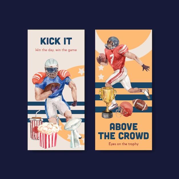 Flyer sjabloon met super kom sport conceptontwerp voor brochure en folder aquarel vectorillustratie. Gratis Vector