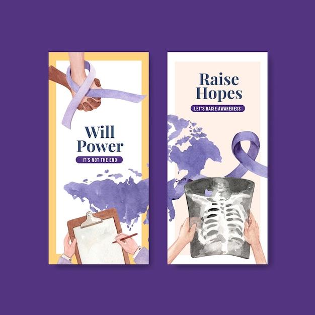 Flyer sjabloon met wereld kanker dag conceptontwerp voor brochure en folder aquarel vectorillustratie. Gratis Vector