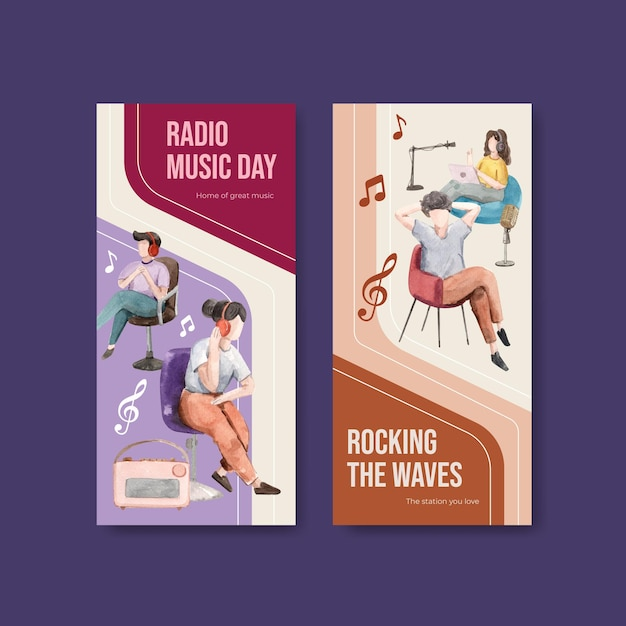 Flyer sjabloon met wereld radio dag conceptontwerp voor brochure en folder aquarel illustratie Gratis Vector