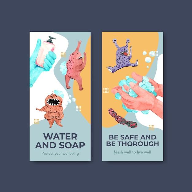 Flyer-sjabloon met wereldwijd conceptontwerp voor de handwasdag Gratis Vector
