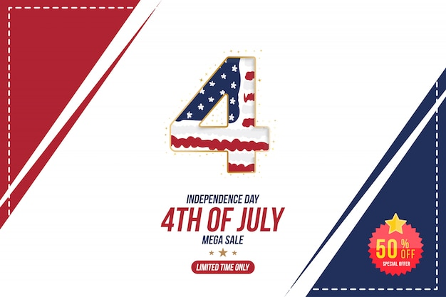 Flyer vier happy 4th of july, independence day banner Premium Vector