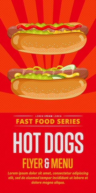 Flyer voor hotdogs. Premium Vector