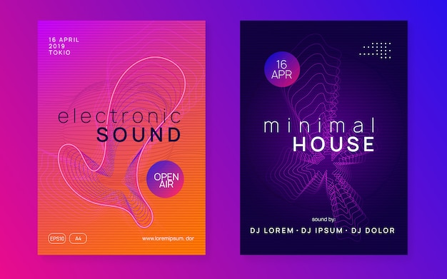 Flyer voor neon trance-evenementen. techno dj-feest. Premium Vector