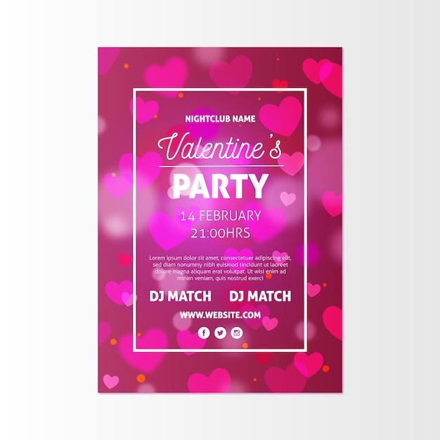Flyer voor valentijnsdag feest Gratis Vector