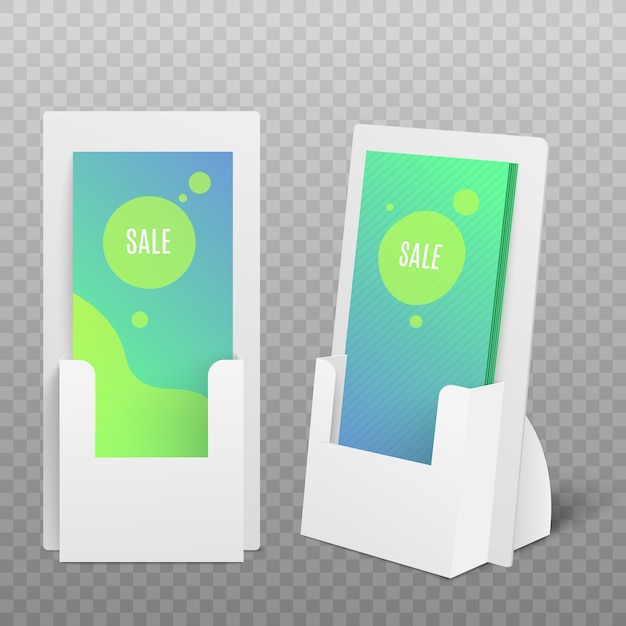 Flyers of promomaterialen kartonnen display set, realistische afbeelding op witte achtergrond. pos-kaarthouder voor commerciële reclame. Premium Vector