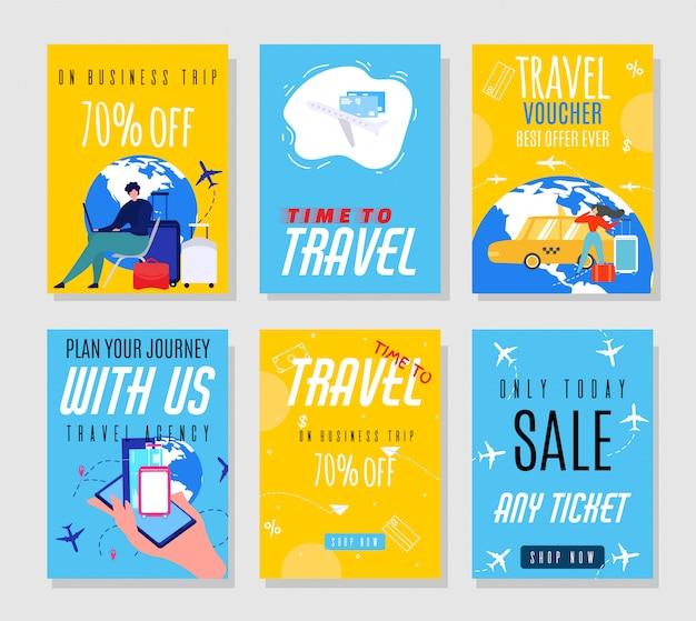 Flyers voor reisagentschappen die hoge prijzen aanbieden op tickets Premium Vector