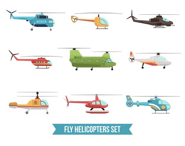 Flying helikopters set Gratis Vector