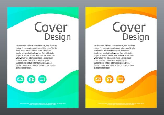 Folder . heldere gradiëntgolven op witte achtergrond. omslagsjabloon met kleurlijnen. creatieve compositie. trendy illustratie. Premium Vector