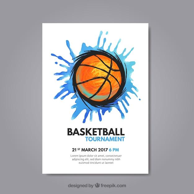 Folder met splash en basketbal Gratis Vector