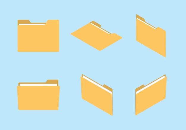 Folder pictogrammenset collectie met verschillende vorm en isometrische moderne vlakke stijl concept Premium Vector