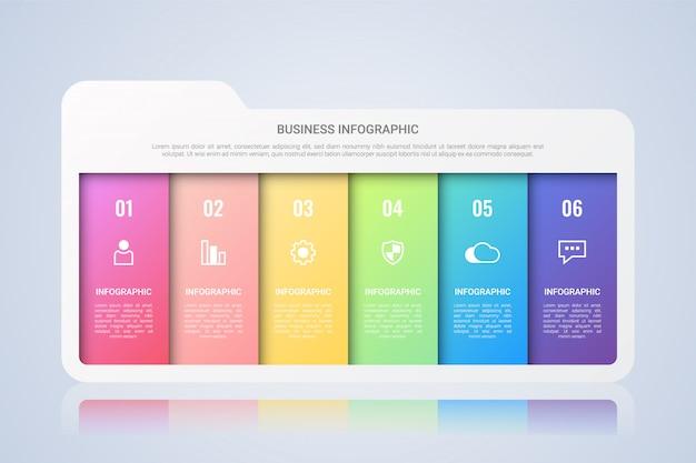 Folder zakelijke infographic sjabloon met zes stappen multicolor lael Premium Vector