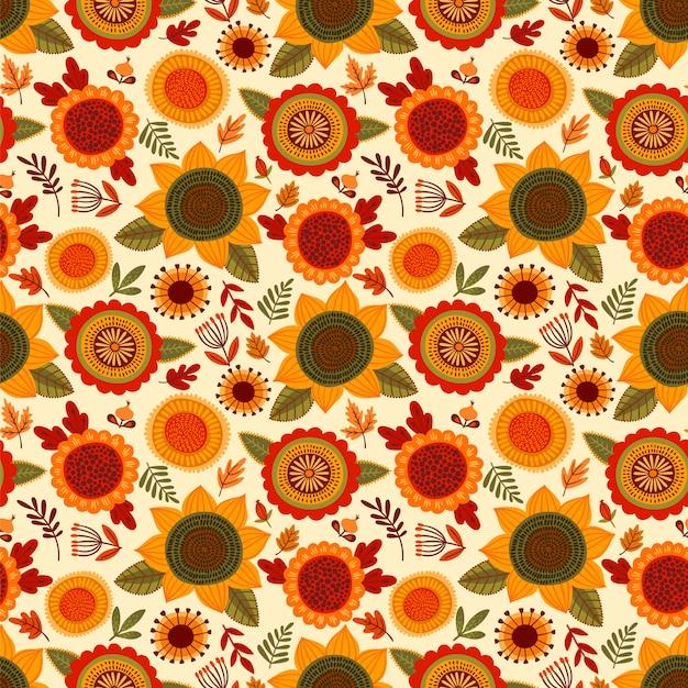Folk naadloos patroon met herfst bloemen Premium Vector