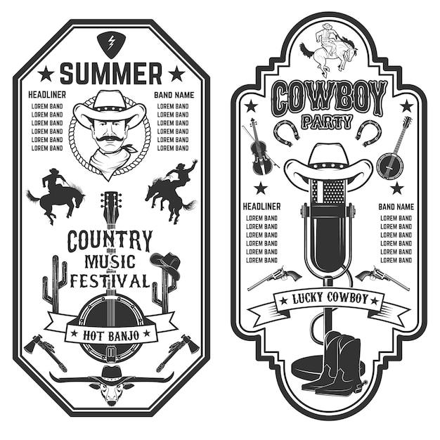 Folk rock feest. zomer country muziek festival folder sjabloon. Premium Vector